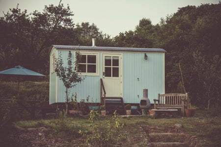 Blue tiny home