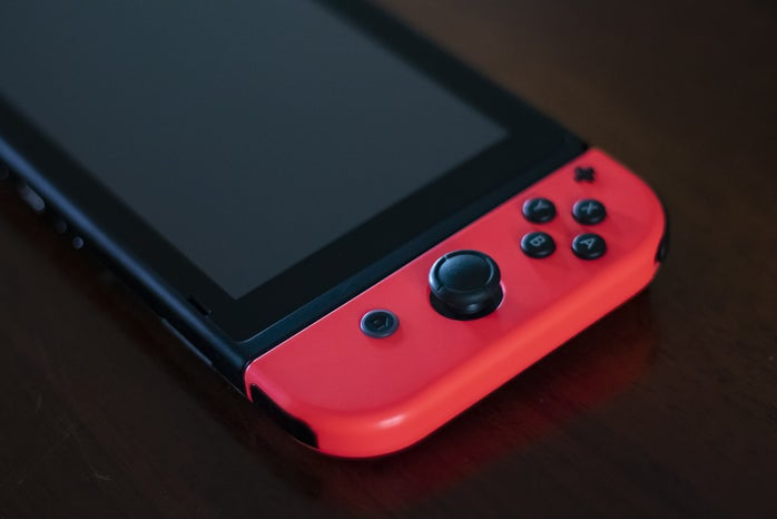 nindendo switch with a black background