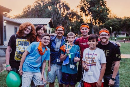 Group of Kids and counselor at Camp Kesem