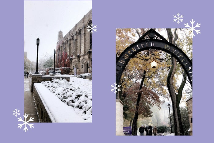 Photos of winter at Northwestern with purple background and white snowflakes