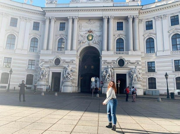 cristina in front of building