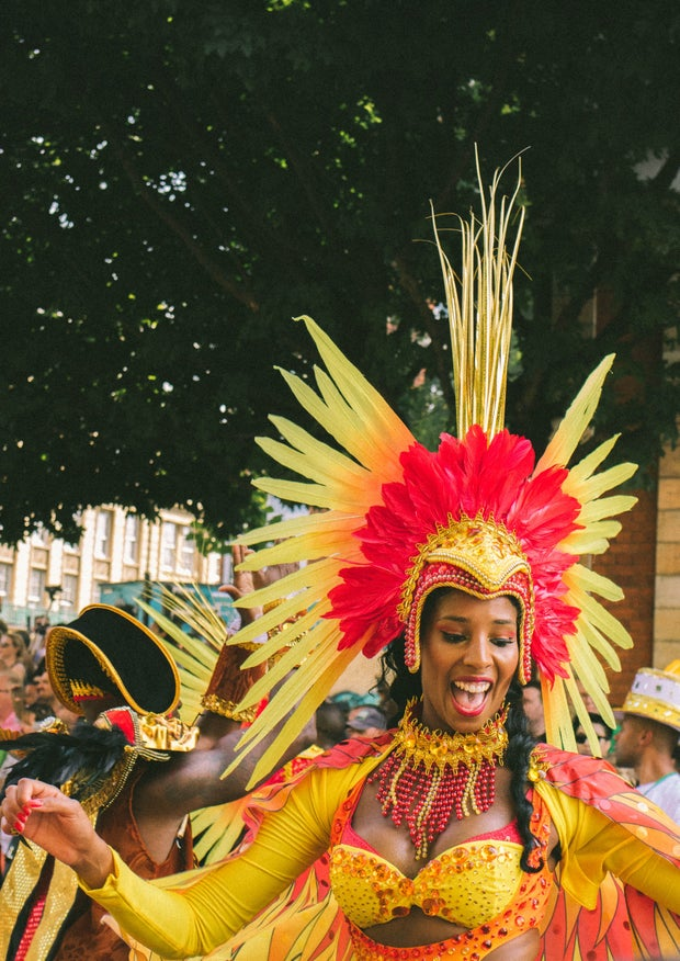 J'ouvert, Trinidad and Tobago Carnival, woman dancing