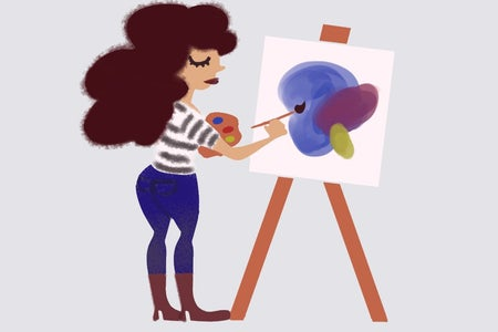 A graphic of a woman painting.