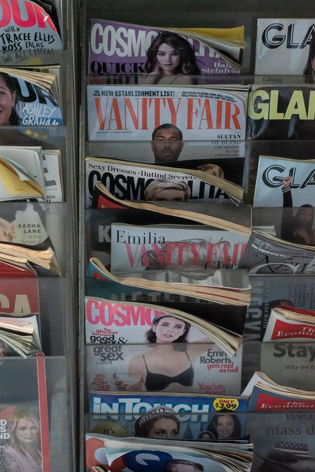 rack of magazines