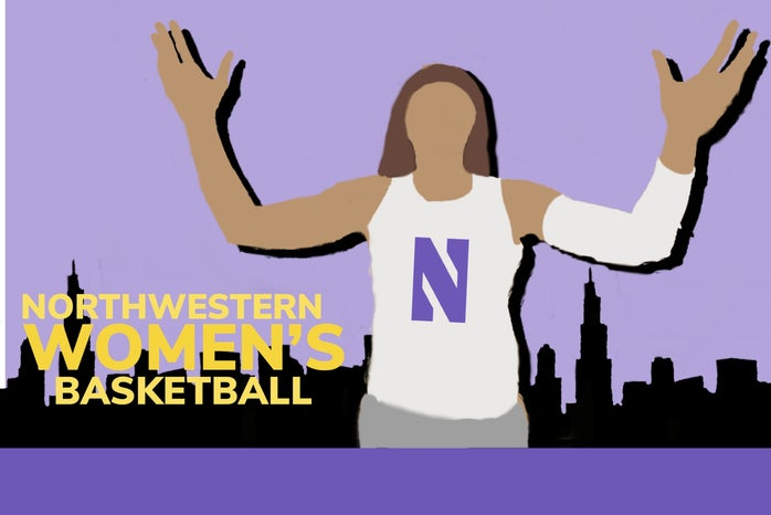 A graphic illustration of the Northwestern Women\'s Basketball team