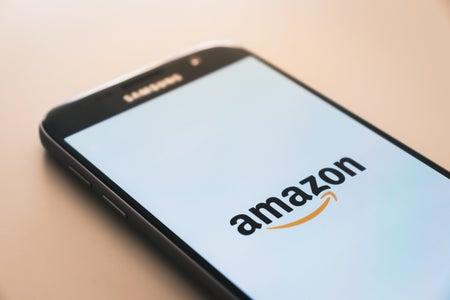 Amazon logo on phone screen