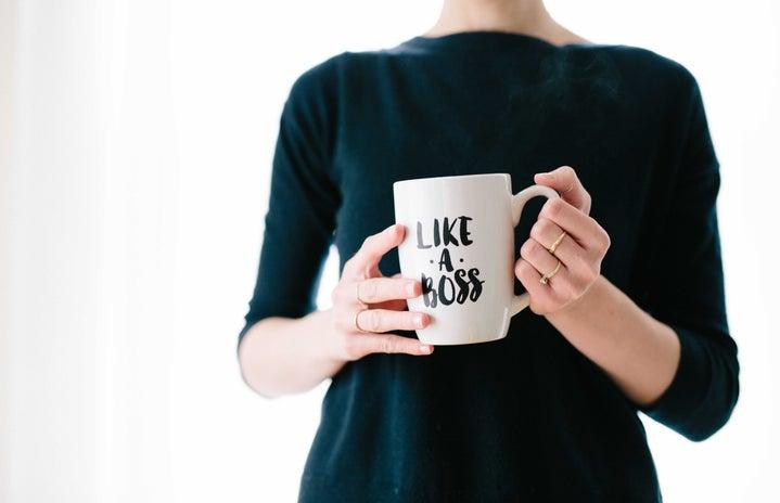 "white mug \""like a boss\"" logo"