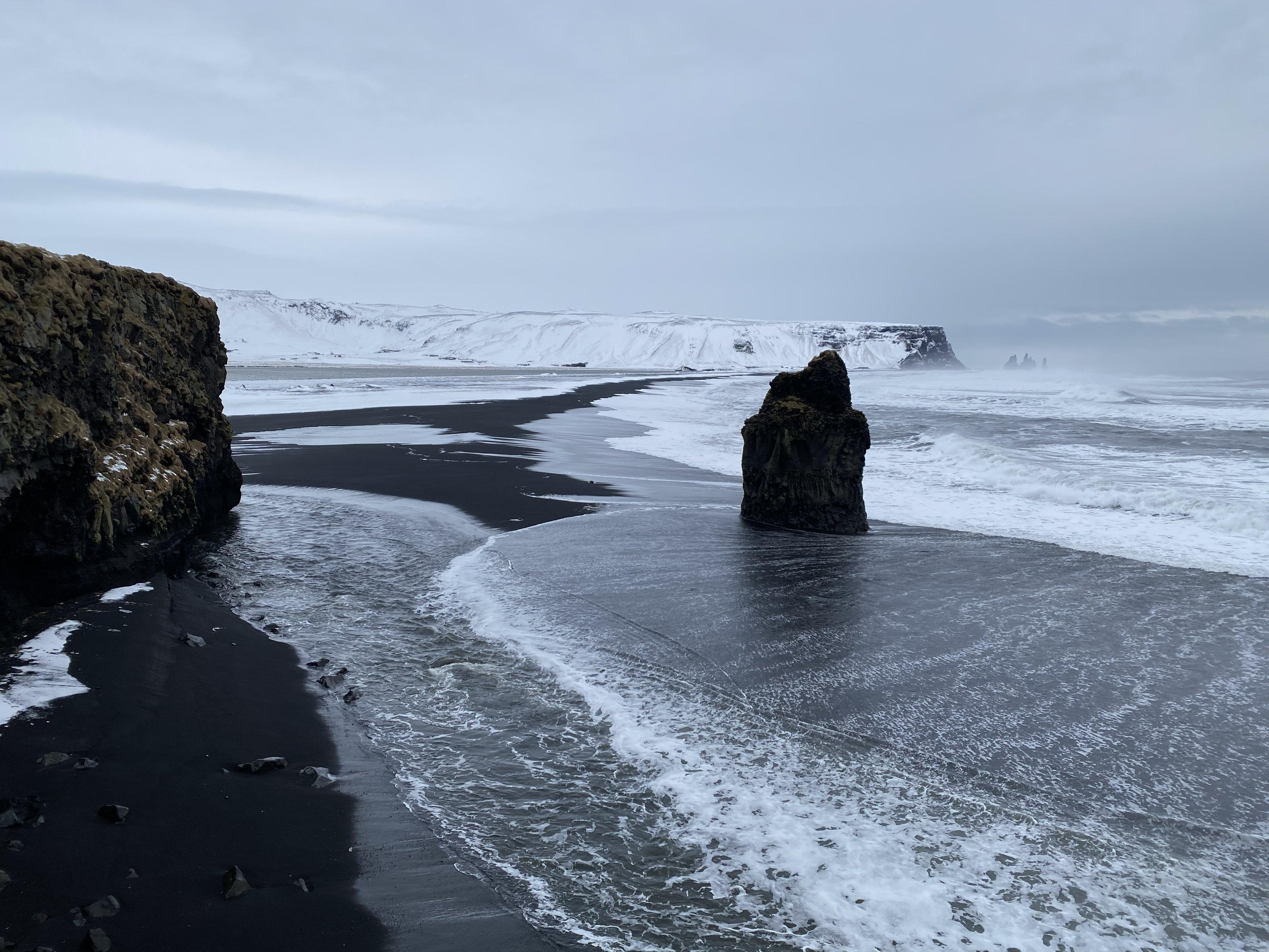 Black Sand beach at Puffin Island