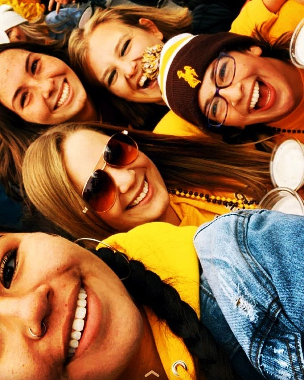 Selfie with girls at football game