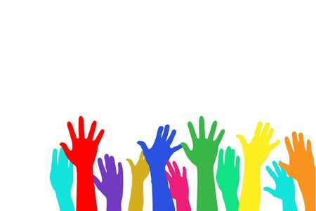 Colorful raised hands