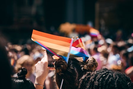 woman, lgbt, lgbtq, flag, rally