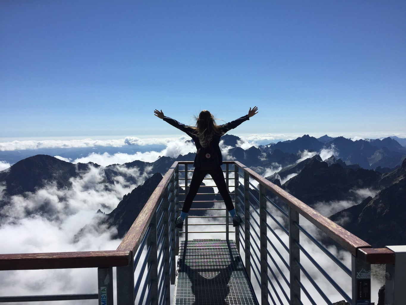 person standing wide toward mountains