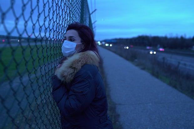 Woman in Mask Virus