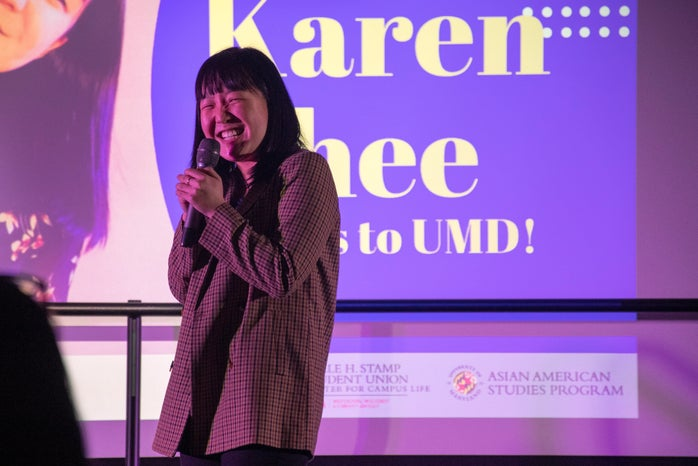 karen chee performing stand-up