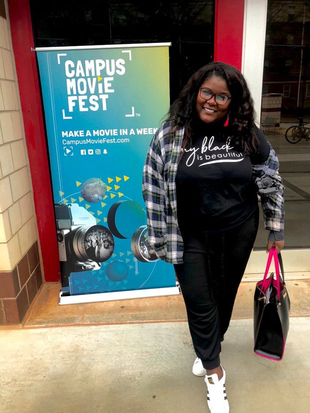 woman posing for campus movie fest
