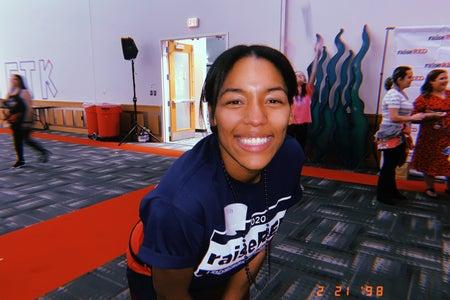 Elisha Calhoun (writer) participating in RAISEred, the 18 hour dance marathon.