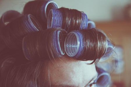 Hair in hot rollers
