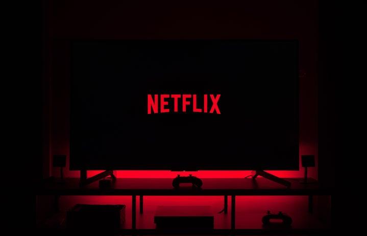 netflix logo on flat screen tv