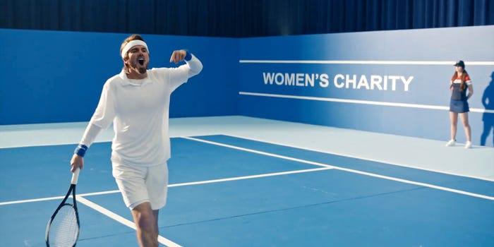 Taylor Swift Music Video Screenshot of her at a tennis match