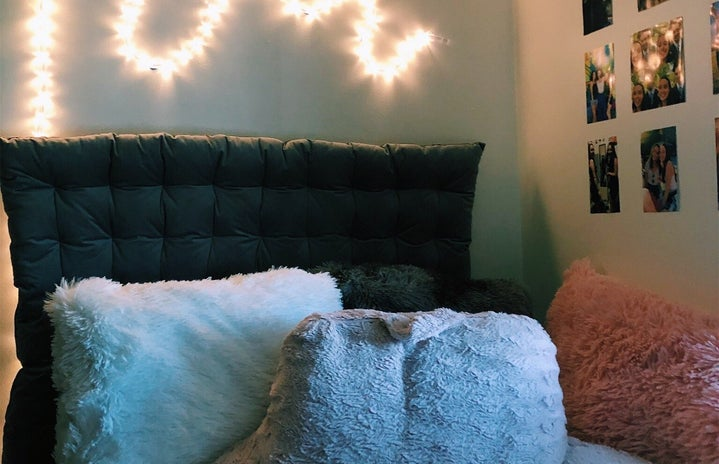 Dorm room bed with lights