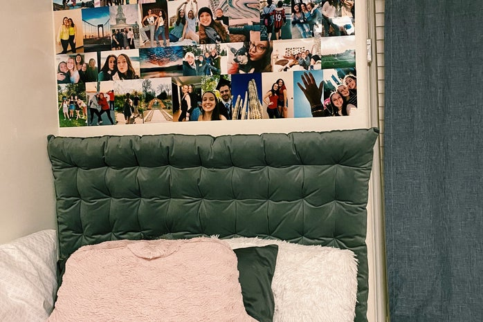 Dorm room with collage