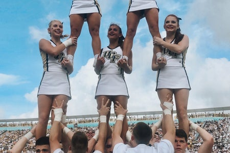 A group photo of the UCF Cheer team.
