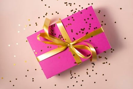 Pink wrapped gift box