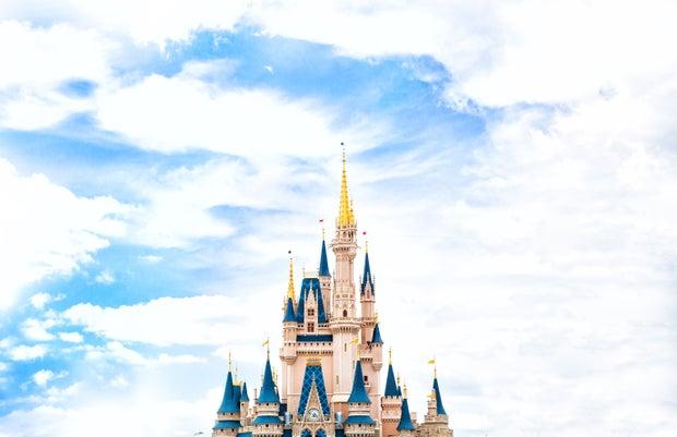 Disney castle with pretty sky