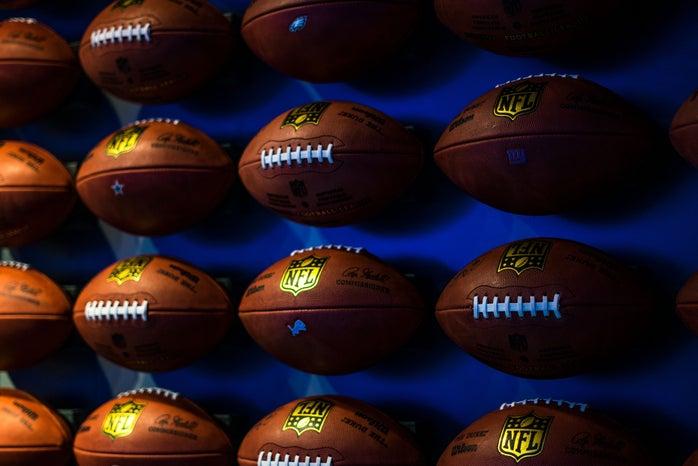 footballs on wall