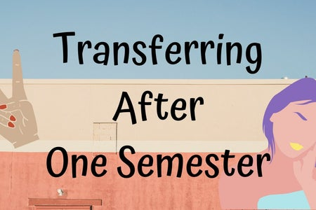 "article cover for ""transferring after one semester"", cartoon girl and peace sign"