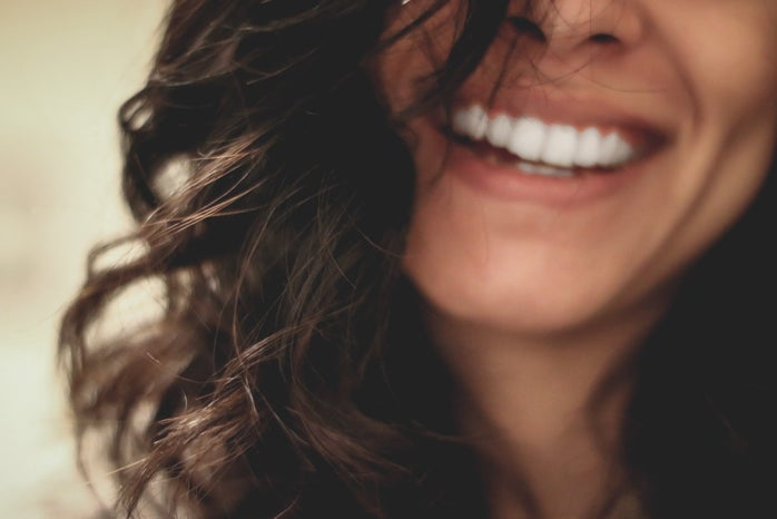 close-up of a woman\'s smile