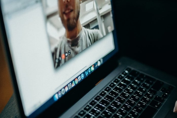 facetiming on a laptop