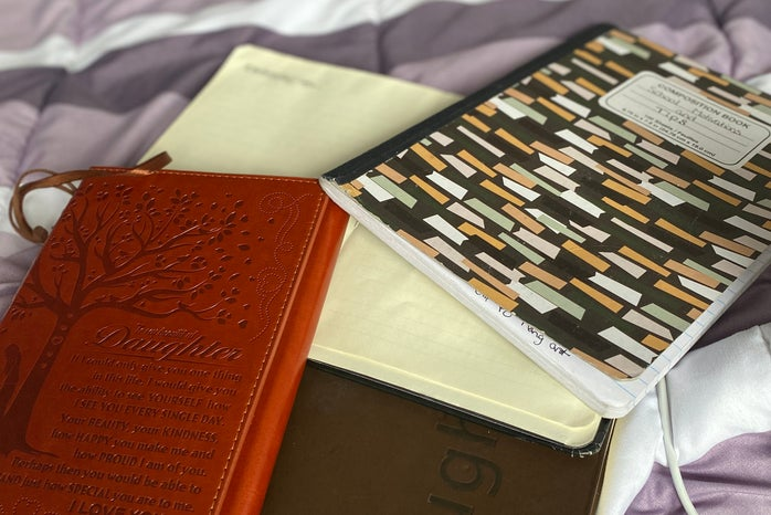 Notebooks of various sizes and colors
