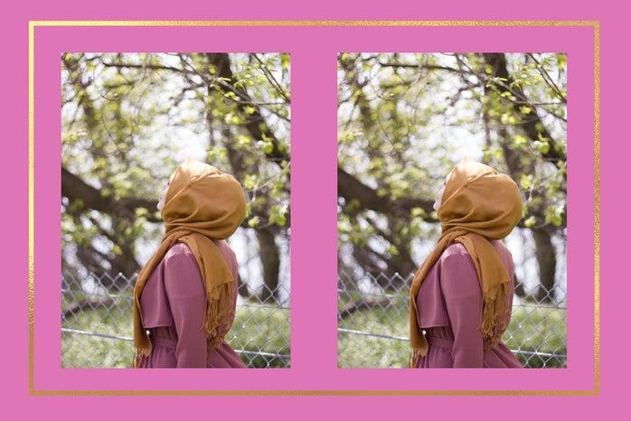 Woman in hijab enjoying the summer breeze under trees