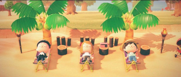 animal crossing characters laying on the beach in hammocks