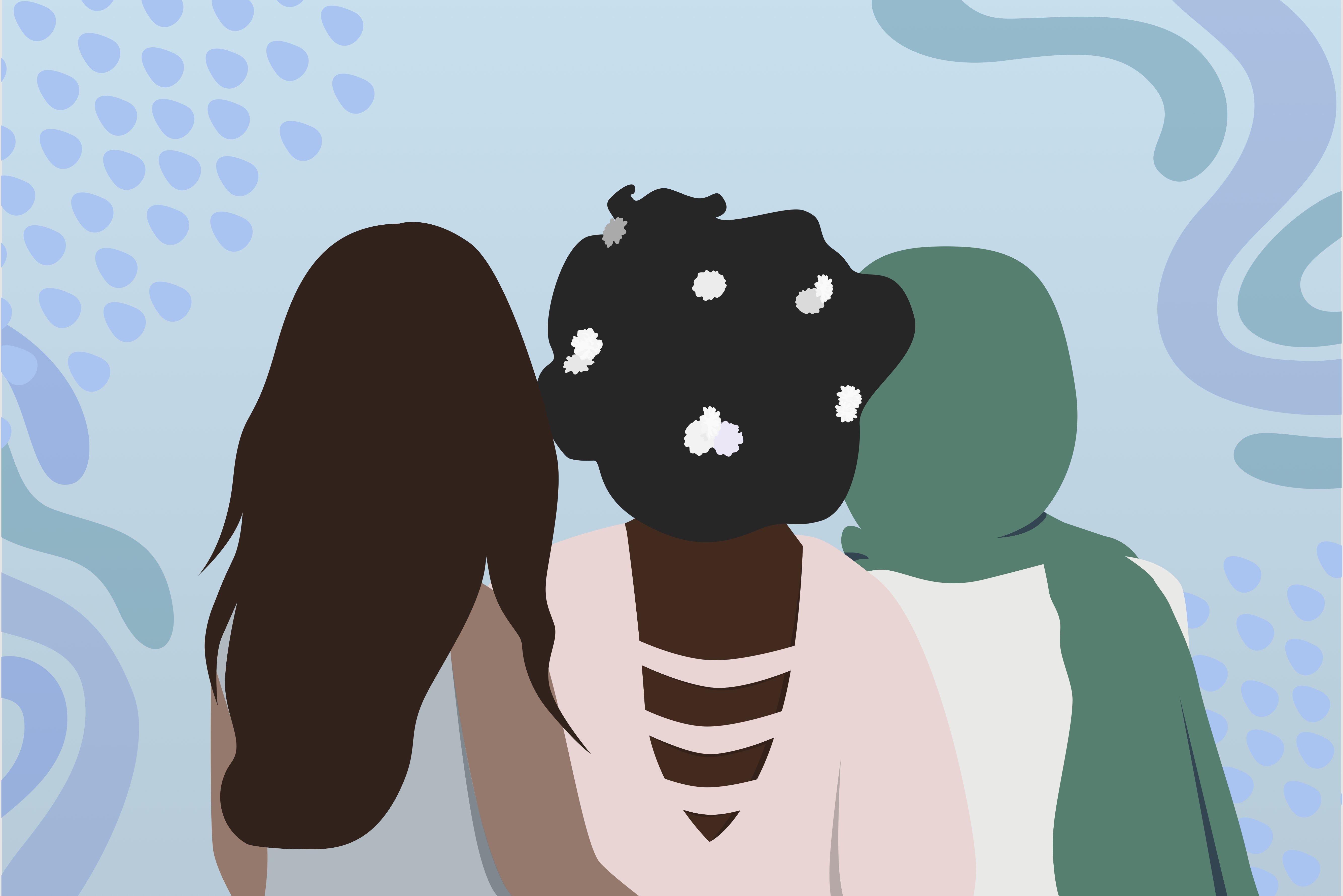 Graphic of three women's backs