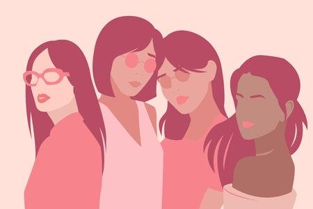 Pink cartoon graphic of women
