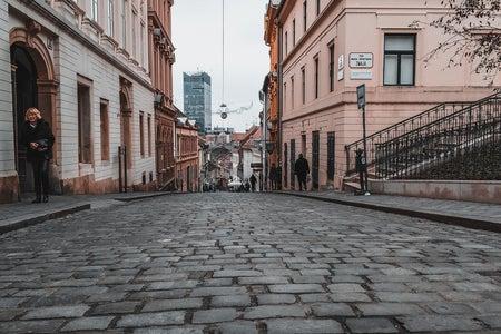 Low view image of cobblestone street in Zagreb, Croatia