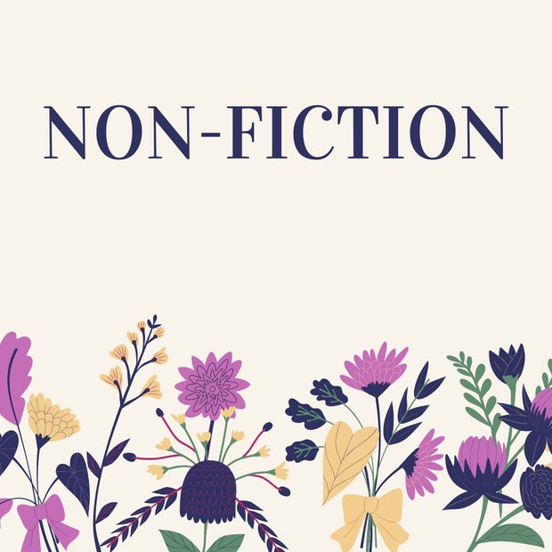 "Graphic of flowers with text stating ""Non-Fiction"" to be used in a listicle"