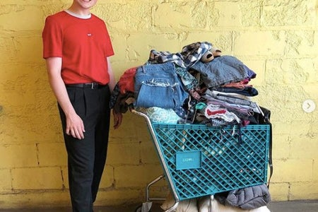 Nick Waskosky with thrifted pieces