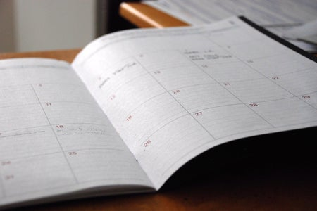 a photo of an open planner