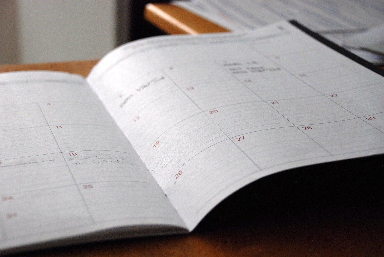 a photo of an open planner