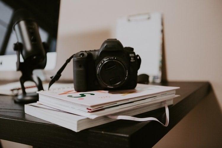 camera sitting on a desk