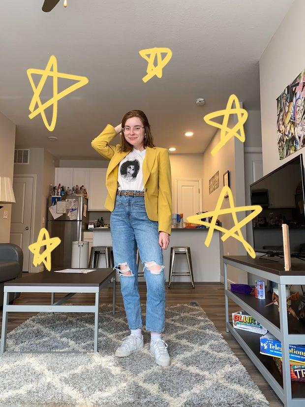Sydney Richardson styling thrifted clothing items