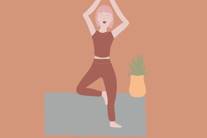 Drawing of a girl doing yoga