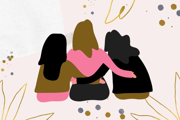 three animated girls with their arms around each other sitting down