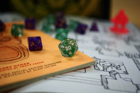 dungeons and dragons game and dice
