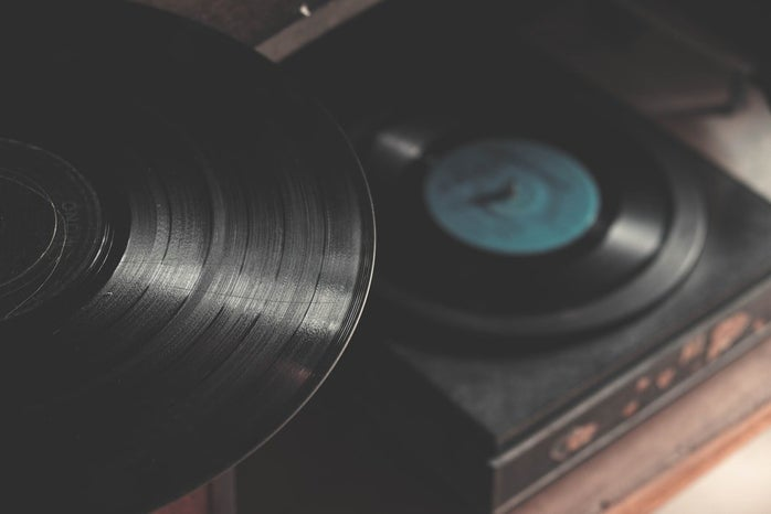 A beautiful black vinyl and turntable.