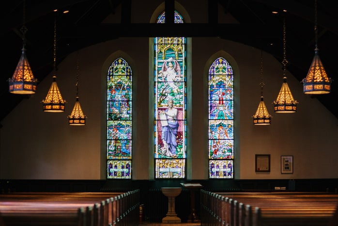 inside of church with stain glass