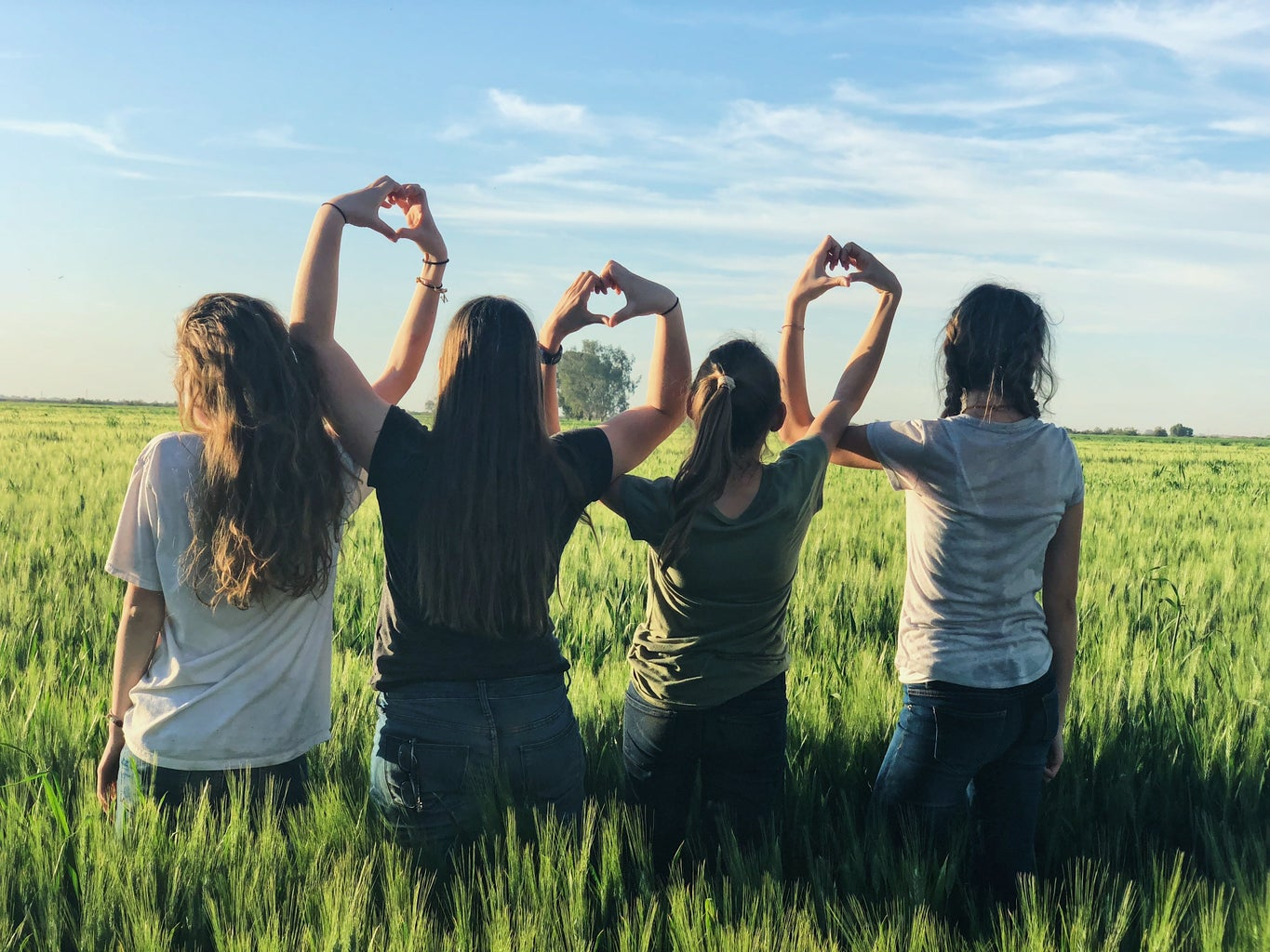 four girls standing united in a grass meadow